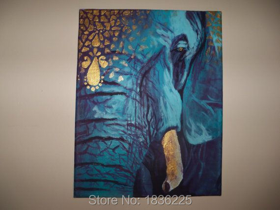Home Decor Hotel Wall Art 100% Handmade Abstract Canvas Oil Painting Blue  Elephant Custom Paintings