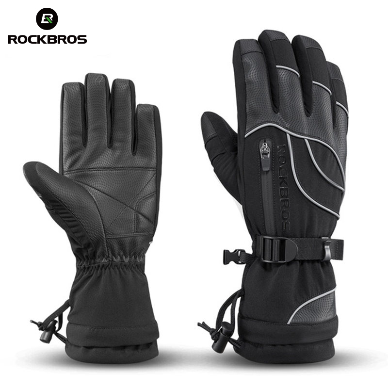 ROCKBROS Waterproof Ski -30 Gloves Winter Windproof Snowmobile Snowboard Gloves Snow Men Women Snowboarding girls Skiing Gloves