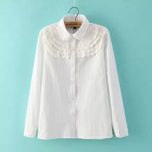 Nice Spring Women White Shirt Crocheted Flower Stitching Blouse Elegant Long Sleeve Shirt Office Lady OL Blouse Fashion AE108