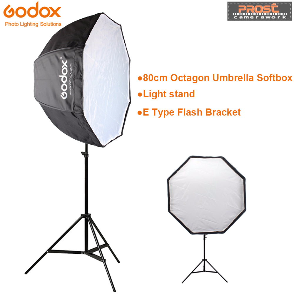 Godox 80cm octagon umbrella softbox Light stand umbrella Hot shoe bracket kit for Flash Speedlite godox 60 90 60x90cm flash umbrella softbox hot shoe bracket 2m light stand honeycomb grid for canon nikon flash