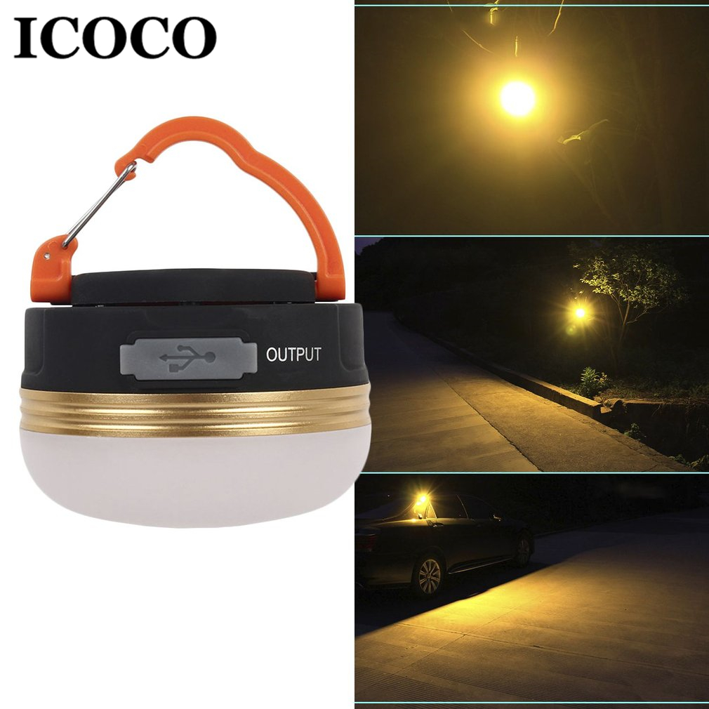 ICOCO Mini Portable LED Tent Lamp USB Rechargeable Ultra Bright Outdoor Hiking Night Lights Hanging Lamp Lantern Camping Lamp