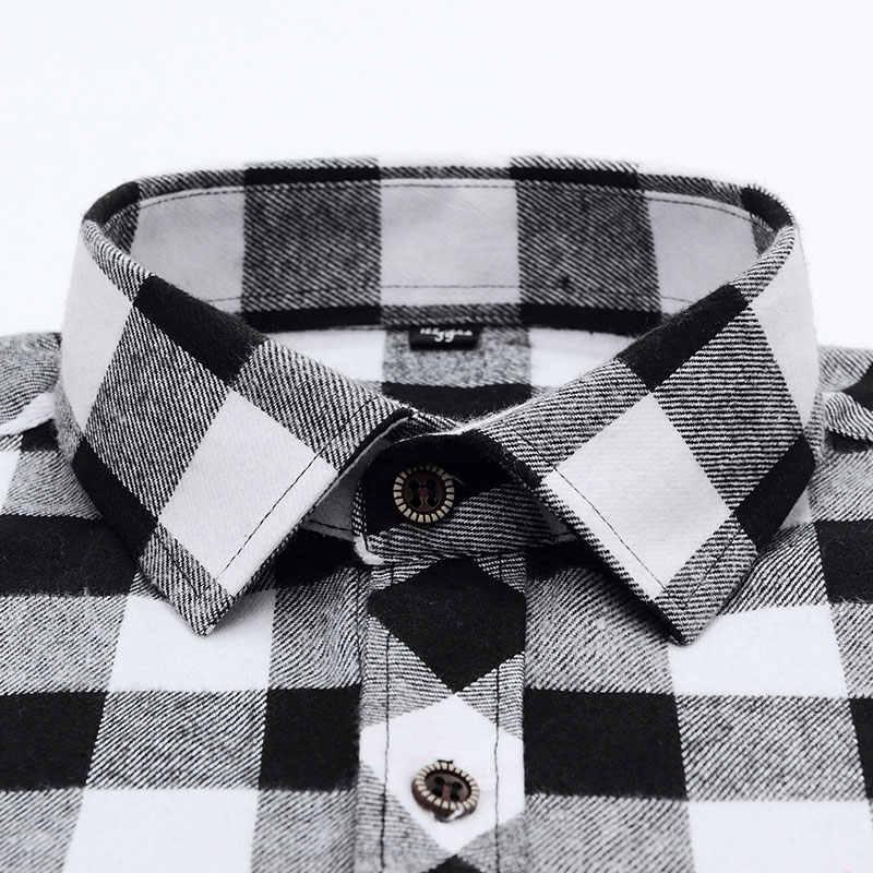 メンズスタイリッシュなロングスリーブプラッドチェック起毛ドレスシャツと胸ポケット標準フィット快適なカジュアルフランネルシャツ