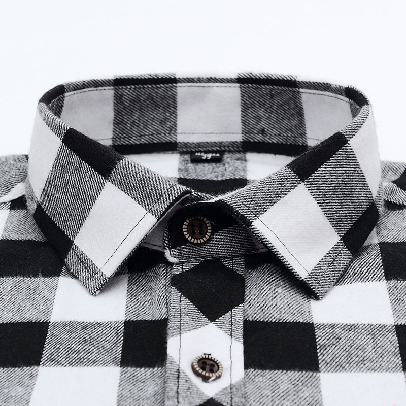 Men's Stylish Long Sleeve Plaid Checked Brushed Dress Shirt with Chest Pocket Standard-fit Comfortable Casual Flannel Shirts 3