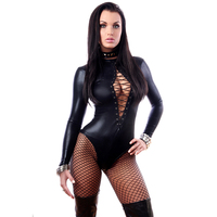 Athemis black PU Leather sex style Bodysuits set love doll costume appeal costume and stockings