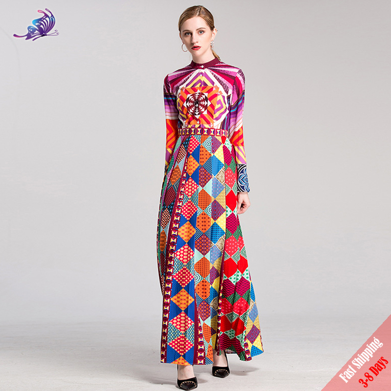 High Quality 2017 Autumn Fashion Runway Maxi Dresses Women