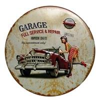 Ретро автомобильный масляный Круглый Оловянный знак, металлический неравномерный постер, железная живопись, настенная живопись для гаража...