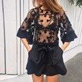 2016 Sexy Summer Women Blouse 3/4 Flare Sleeve See-through Mesh Embroidery Blouse Transparent Club Tops 58