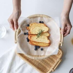 Ротанговые подносы для хранения десерт Органайзер сервировочная тарелка плато En Bois ручной работы круглые декоративные подносы аксессуары ...
