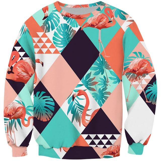 Cloudstyle 3D Full Print Sweatshirts Men Women Swan Flamingo Pullovers Unisex Hoodies 3D Bird Flower Grass Streetwear Tracksuits