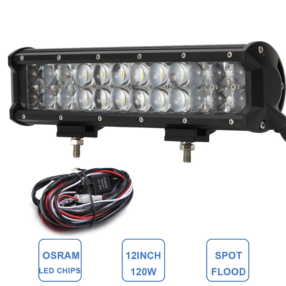 12'' 120W OFFROAD LED LIGHT BAR COMBO 12V 24V CAR AUTO SUV ATV BOAT YACHT TRUCK TRAILER VAN CAMPER WAGON 4X4 DRIVING FOG LAMP guleek combo 120w 8400lm 40 led white light offroad car light bar working lamp 12 24v