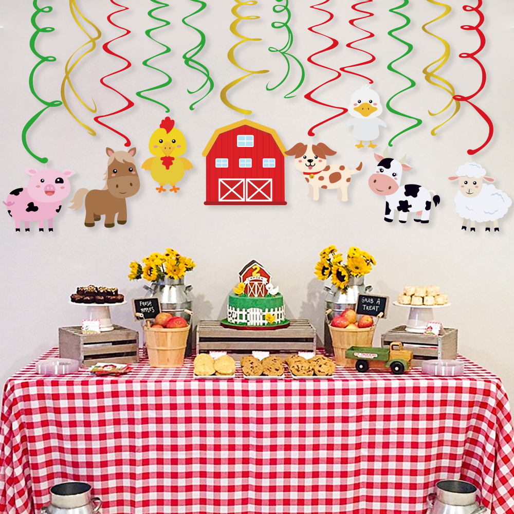Farm Animals PVC Spiral Hanging Swirls Party Decorations Cow Duck Sheep Chicken Dog Pig Cards Kid Birthday Party Favors Supplies