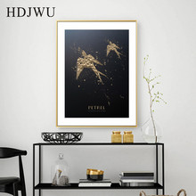 Nordic Creative Black Gold Carved Petrel Animal Decoration Painting Wall Poster for Living Room Hotel DJ275