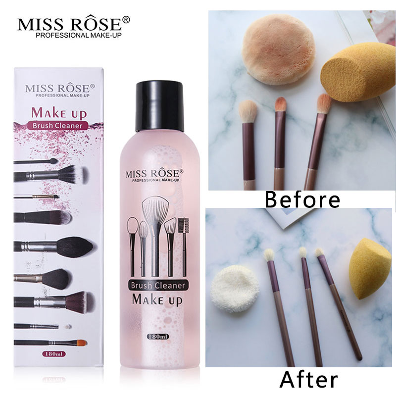 Miss Rose Professional Makeup Tools Liquid Cleaner 180ml Quickly Cleaning Blushes and Puffs Sponge Cleaner Remover Tool