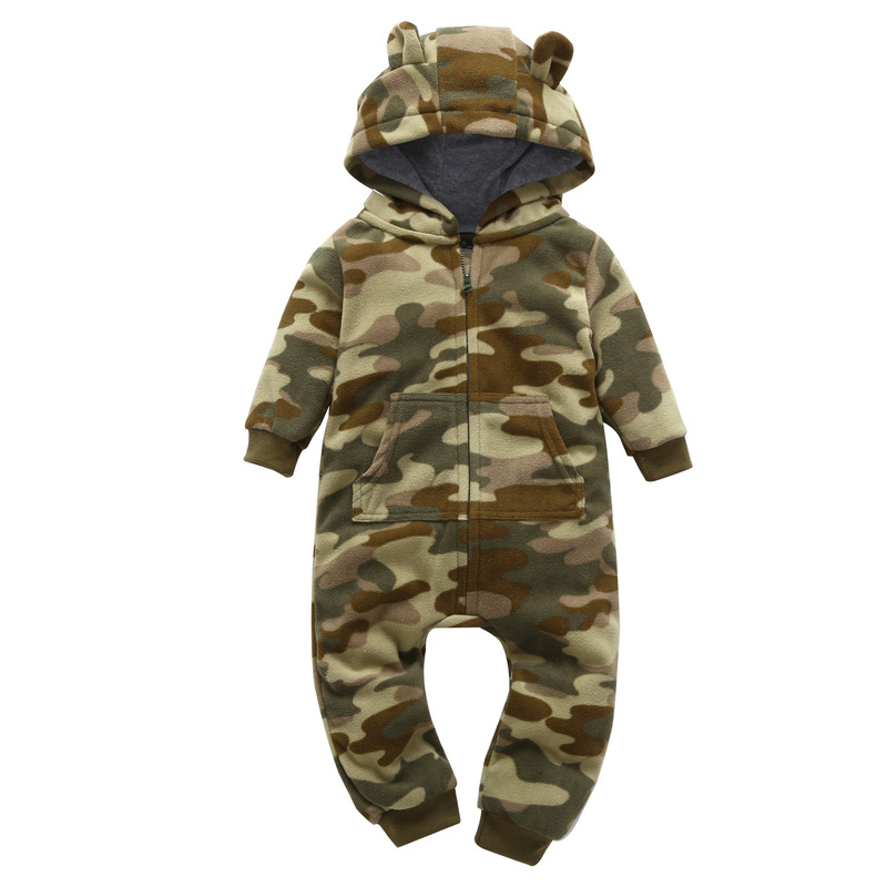 Baby Girl Boy Romper Cartoon Camouflage Hooded Fleece Costumes Newborn Babies Warm Clothes Autumn Winter Bebe Jumpsuit