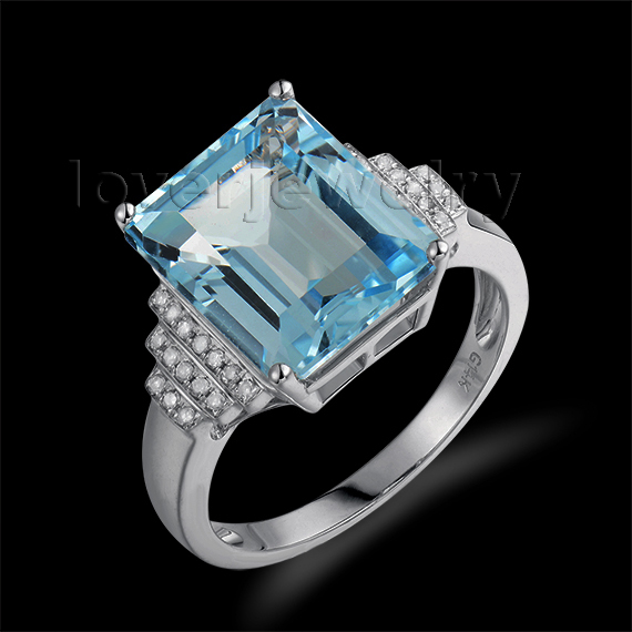 Hot Selling Solid 14Kt White Gold Natural Diamond Blue Topaz Gemstone Ring For Sale R00322 solid 14k rose round 13mm gold diamond natural blue topaz ring wedding ring hot sale