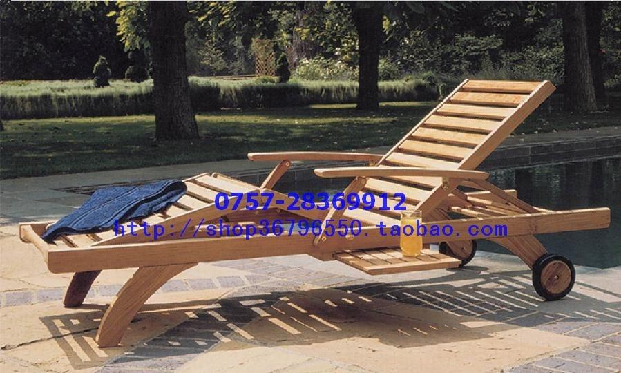 Genuino cama de playa piscina lounge chair silla plegable de madera ...