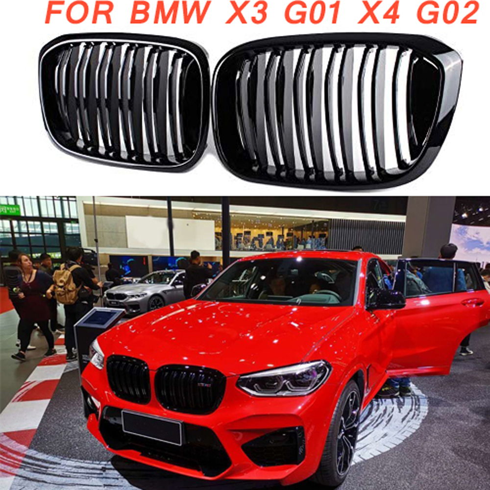 Gloss black Front Kidney Grille Slat Style Grill for For BMW X3 G01 X4 G02 for BMW X4 25I 30I 2018+