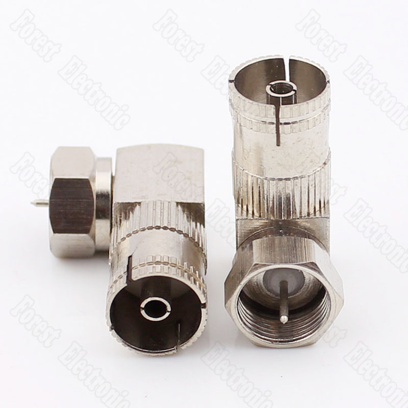F Head Metric Male To RF Female Connector Right Angle Cable TV Adapter TV Female Turn F Male f type female to tv pal male f m rf coax coaxial adapter connector silver tone 5pcs