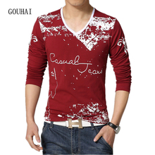 2017 Spring Autumn Plus Size Long Sleeve Tshirt Men Print Cotton Fashion Casual Slim Fit Male T shirt V Neck M-4XL 5XL