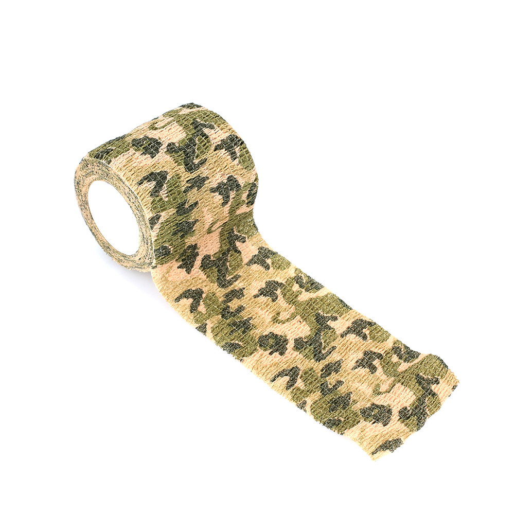 Клейкая ткань для охоты на природе самоклеящаяся Нетканая 4,5 м фонарик обертывание Камуфляжная Лента винтовка лента тянущаяся повязка военная лента - Цвет: Green camouflage