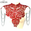 Chran Steampunk Lace Bib Detachable Collar Sexy Body Chain Shoulder Necklace Body Gothic Tattoo Tassel Lace Necklace Jewelry