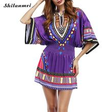 Купить с кэшбэком Purple Printed Geometric Sexy Robe Dashiki 1970s Folk Beachwear Dresses Vintage Retro Beach Dresses for Swimwear Plus Size xl