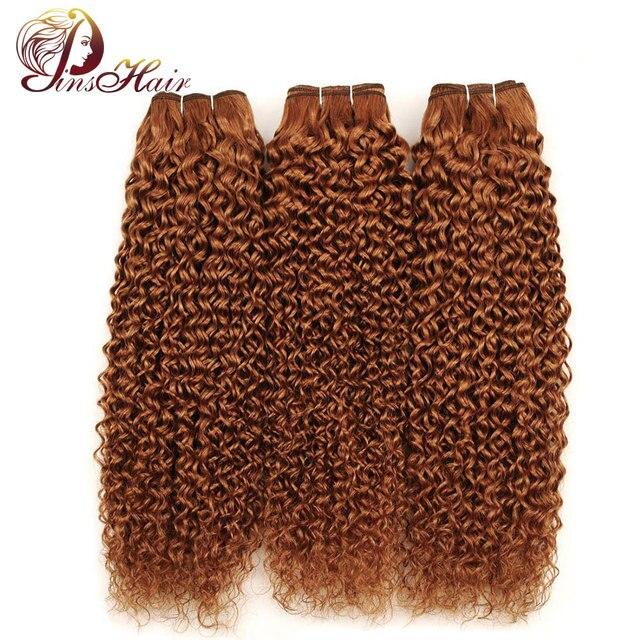 Pinshair Indian Jerry Curly Human Hair 3 Bundles Deals 30 Blonde