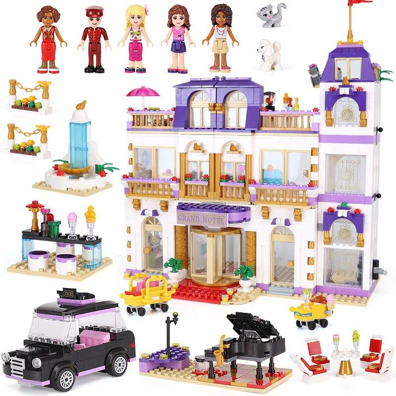 Nouveau Club fille le cœur du Grand hôtel Set Compatible Legoings amis blocs de construction briques cadeaux pour enfants jouets amis naissance