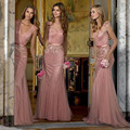 Beautiful Blush Pink Bridesmaid Dresses with Ribbon Sash Floor Long Shiny Beaded Sequined V Neck Mermaid Wedding Party Dress