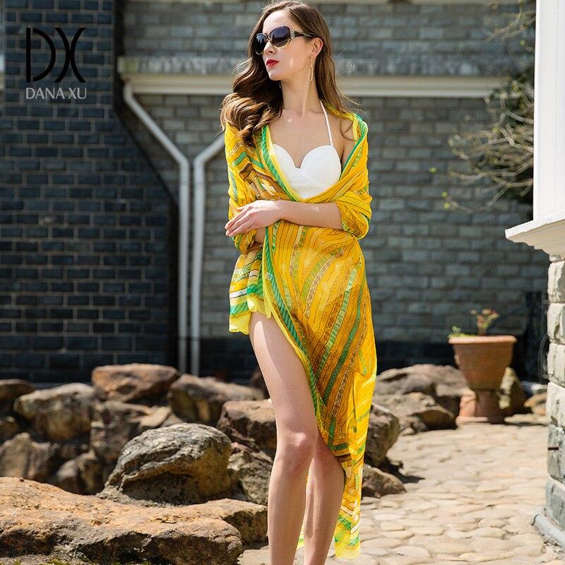245 * 110cm svilena šal luksuzna blagovna znamka ženske šali nova moda dolgo rumena letala čiste bandane šal odejo hidžab obraz ščit