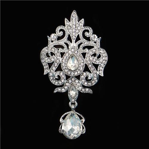 Women Crystal Wedding Bridal Brooch Jewely Delicate Water Drop Brooch LC
