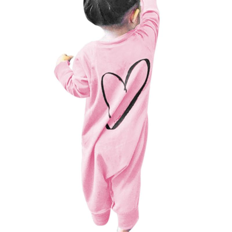 Lovely Newborn Romper Outfits Infant Baby Boys Girls Long Sleeve Love Heart Printed Romper One Piece Jumpsuit Kids Clothing Suit 2017 lovely newborn baby rompers infant bebes boys girls short sleeve printed baby clothes hooded jumpsuit costume outfit 0 18m