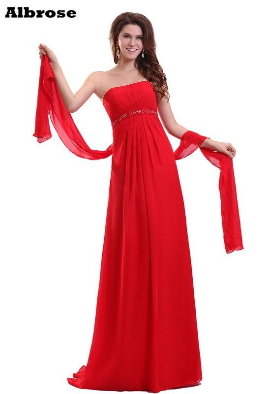 Red Sexy Strapless Empire Beach Evening Dress Elegant Long ...