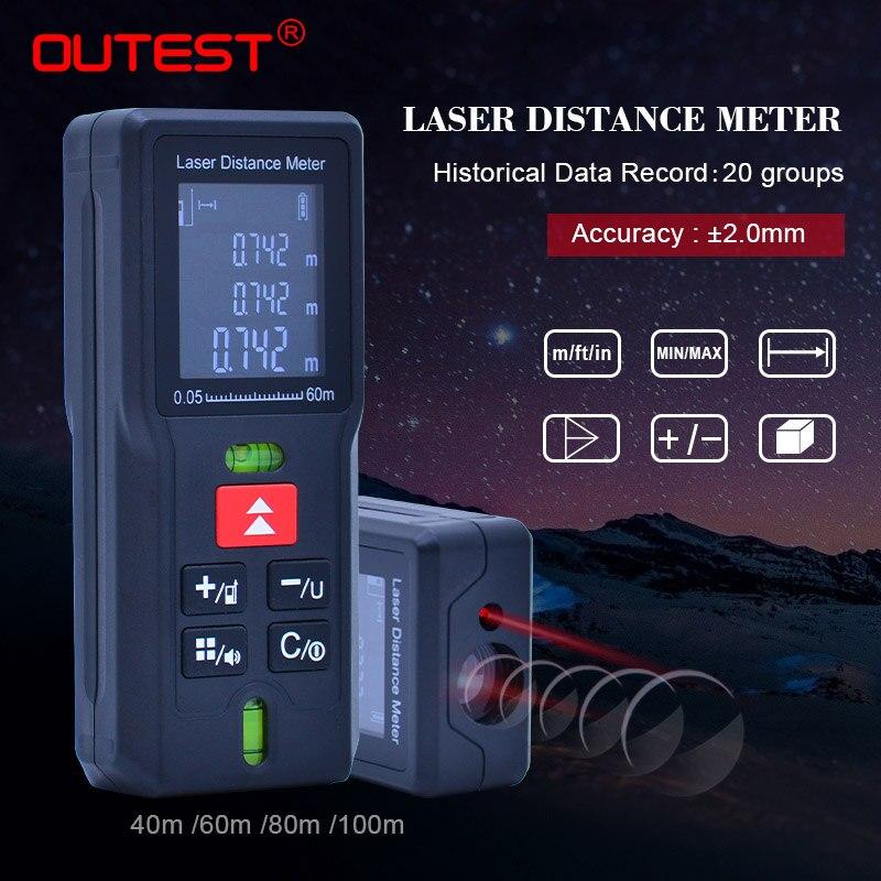 OUTEST Diastimeter ferramenta testador Medidor de distância a laser Fita métrica trena a laser Mini Laser Digital Rangefinder 40 m 60 m 80mm 100 m