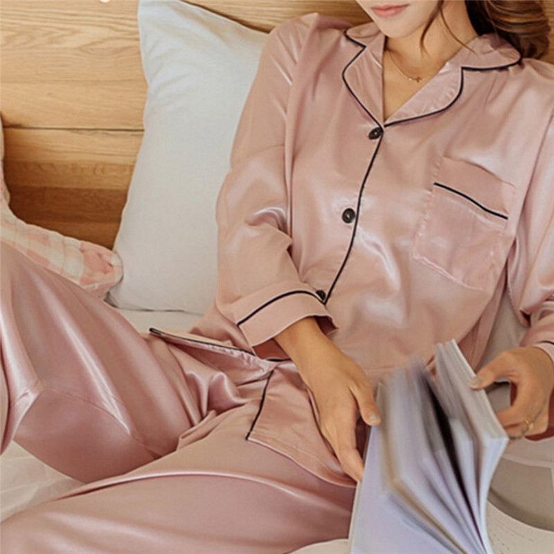 2 Piece Set Loungewear Womens Silk Satin Pajamas Pyjamas Set Long Sleeve Sleepwear Pijama Pajamas Suit Female Sleep