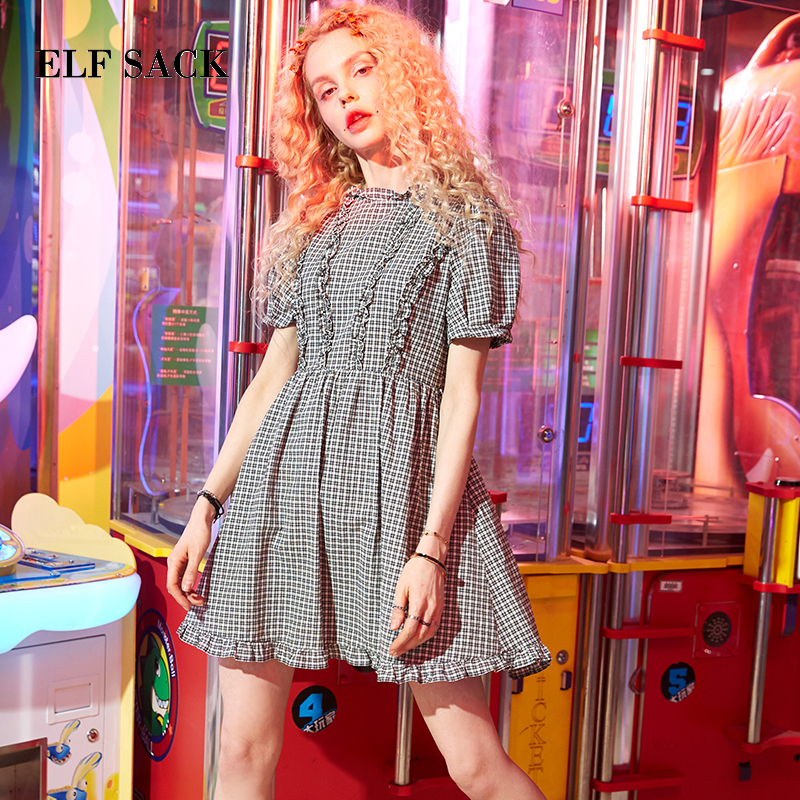 ELF SACK Stylish Women Cotton Casual Plaid Short Mini A Line Dress New Fashion Korea Vintage