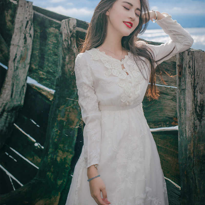 Bridesmaid Dress Vintage Princess Embroidery Nightgowns Goddess Long Dress White Sleepwear For Women Women dress