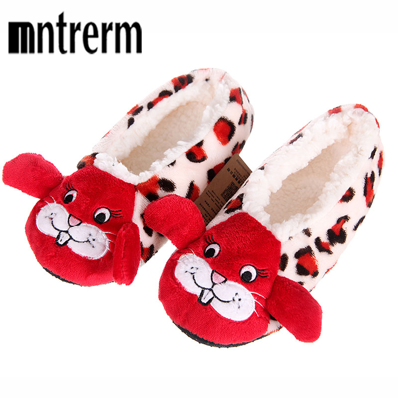Mntrerm 2017 New Fashion Cute Animal Cartoon Pattern Women Plush Slippers House Indoor Comfortable Women Winter Flock Shoes plush winter slippers indoor animal emoji furry house home with fur flip flops women fluffy rihanna slides fenty shoes