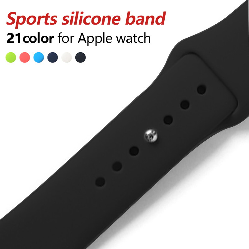 Colorful Soft Silicone Sport Band For 38mm Apple Watch Series3 2 42mm Wrist Bracelet Strap For iWatch Sports Edition Replacement