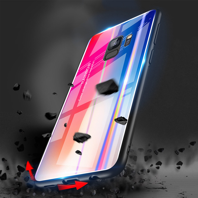 Luxury Gradient Phone Case for Samsung Galaxy S9 Plus Glass Back Cover Silicone Soft Edge Coque Case for Galaxy Note 9 shell bag