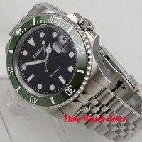 40 мм SUB parnis мужские часы с сапфировым стеклом черный светящийся циферблат зеленый керамический ободок MIYOTA 8215 Автоматические наручные часы м