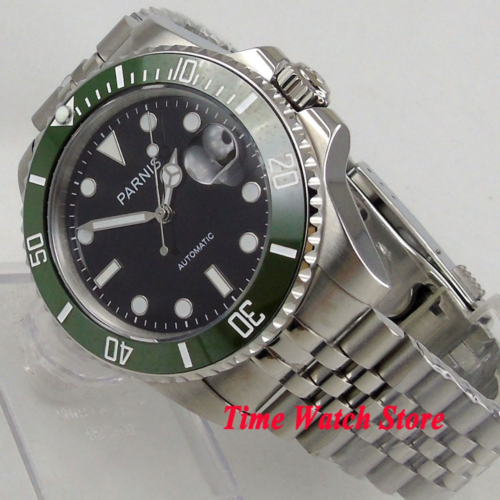 лучшая цена 40mm SUB parnis men's watch sapphire glass black dial luminous green ceramic bezel MIYOTA 8215 automatic wrist watch men 1067