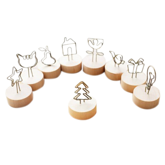 10Pcs Tree Star Cat Bird Shape Natural Wood Memo Pincer Clips Paper Photo Clip Holder Wooden Small Clamps Stand for Office Sup 50pcs lot factory supply blackboard clamps note folder photo clip mark chalkboards paper clips message folders mini wooden