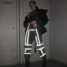 Nibber fashion Reflective stripes women's Casual Straight pants hot sale simple lady Sweatpants wild Belt decoration Active Wear