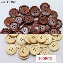 Prajna Wholesale 100PCS Brown Natural Color Wooden Buttons Handmade Scrapbooking For Wedding Decor Button 10mm/15mm/13mm Z1