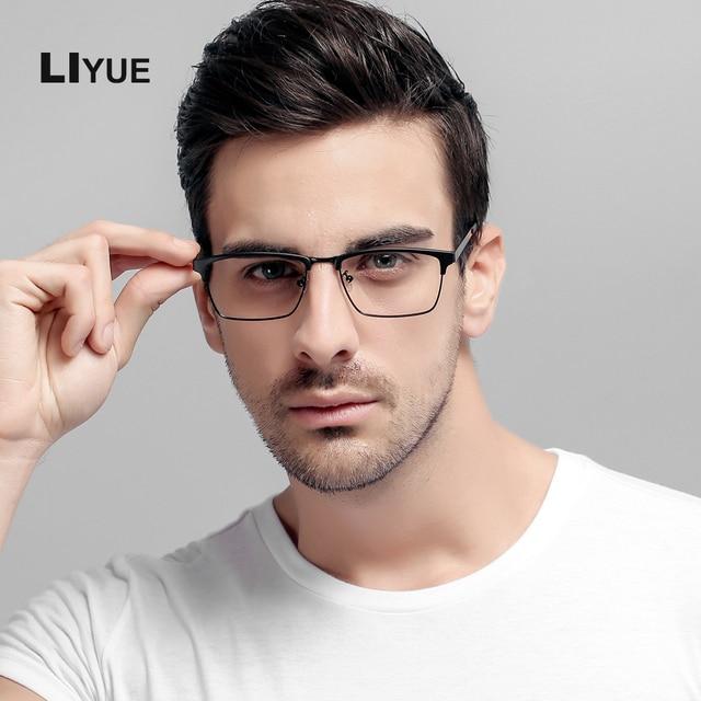 LIYUE oculos de grau Óculos armações homens quadrados óculos de armação de  Prescrição Óculos de Computador 66f8fdf73e