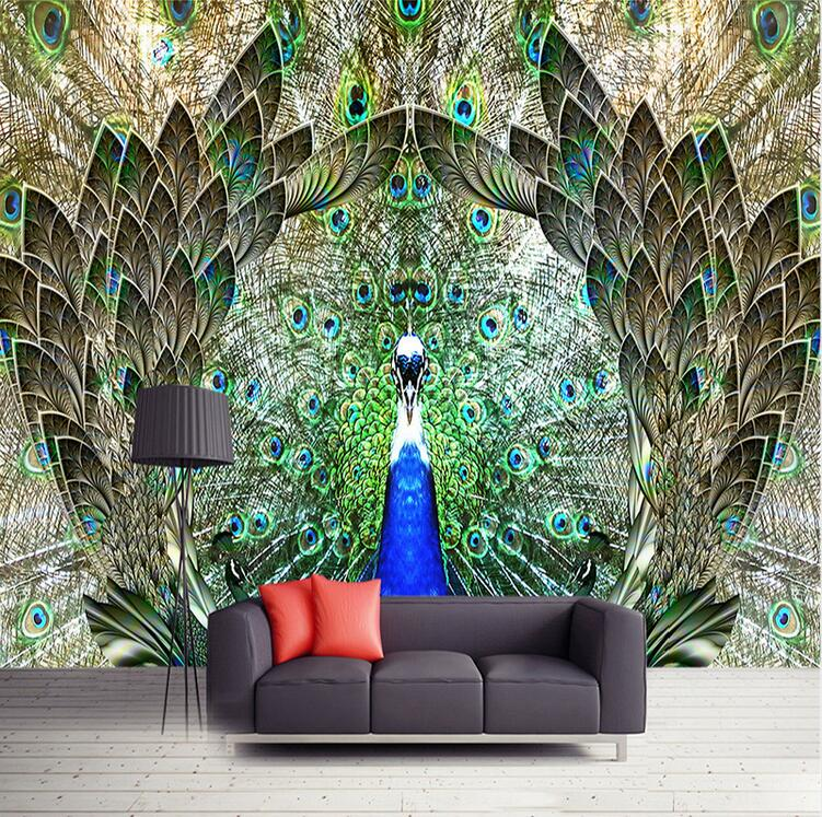Custom Photo Wall Paper Rolls Peacock Open Screen 3D Large Mural Wallpaper Living Room TV Background Wall Art Decor Painting shinehome 10m luxury european diamond trellis living room background wallpaper mural rolls for 3d wall paper geometric decal art