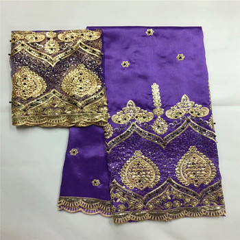 Purple African George Lace Fabric With Sequin/Beads African George Fabric 2018 Top Quality Gold Lace Trim Sewing Lace  zgl65-785