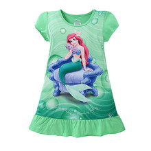 2016 summer girls dresses Elsa Anna Mermaid Sofia kids pajamas polyester nightgowns sleepwear clothes 3 4 5 6 7 8 9 years