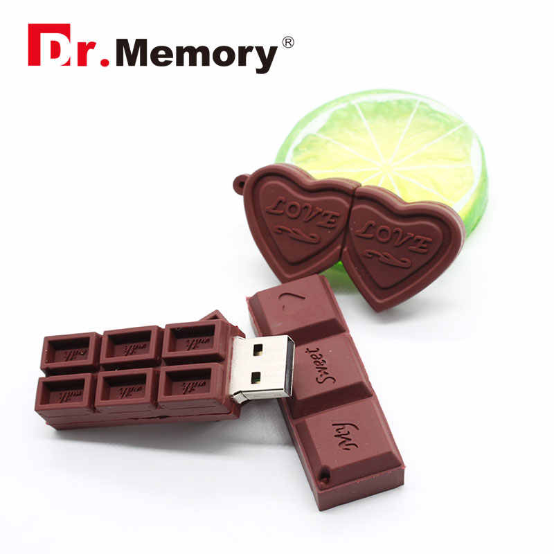 Cute Chocolate Love USB Flash Drive 128M 4GB 8GB 16GB 32GB Memory Stick Real Capacity Pendrive Personalized USB 2.0 Disk Gifts